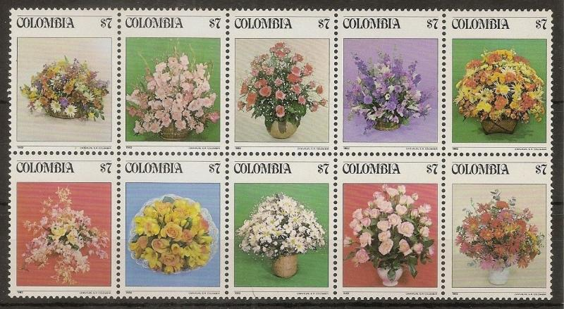 Colombia 1982 Flowers Strip SG1649A MNH Cat£23