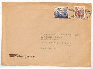 Switzerland Cover Locarno Jo'burg S.Africa Commercial 1948{samwells-covers}VV231