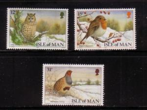 Isle of Man  Sc 377-9 1988 Christmas-Birds stamps mint NH