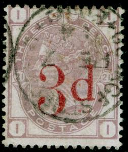 SG159, 3d on 3d lilac plate 21, USED, CDS. Cat £160. II