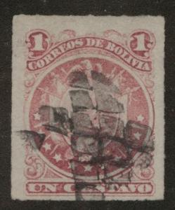 Bolivia Scott 24 Used Rouletted arms stamp