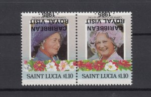 St Lucia 1985 $1.10 Pairs With Inverted O/P Error/Flaw JK5279