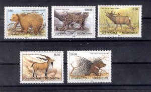 024701 WILD ANIMALS TAJIKISTAN set of 5 MNH#24701