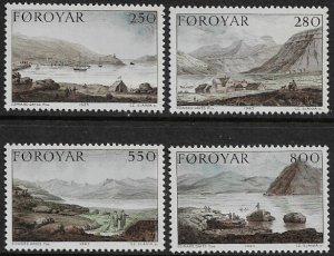 Faroe Is #121-4 MNH Set - Dayes' Landscapes