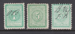 Germany, Bremen, 1873 Documentary revenues, 3 different, sound, used, F-VF.