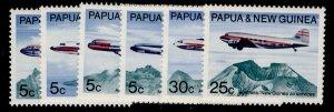 AUSTRALIA - Papua New Guinea QEII SG177-182, 1970 Air services set, NH MINT.