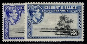 GILBERT AND ELLICE ISLANDS GVI SG48 + 48a, 3d PERF & SHADE VARIETIES, M MINT.