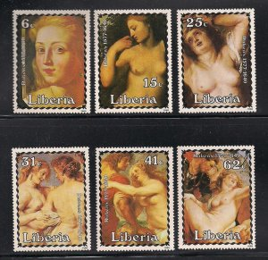 Liberia MNH 1023-8 Rubens Nude Paintings 1985 SCV 7.95