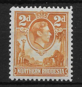 NORTHERN RHODESIA SG31 1938 2d YELLOW-BROWN MTD MINT