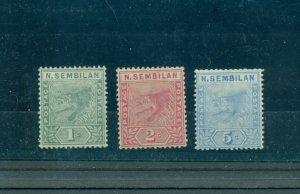 Malaya - Negri Sembilan, Sc# 2-4. 1891-4 Tigers. Mint. Cplt. $43.00.