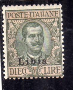 LIBIA 1912 - 1915 SOPRASTAMPATO D'ITALIA ITALY OVERPRINTED LIRE 10 MLH