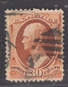 US Stamp #217 30c Orange Brown Hamilton USED SCV $90.00