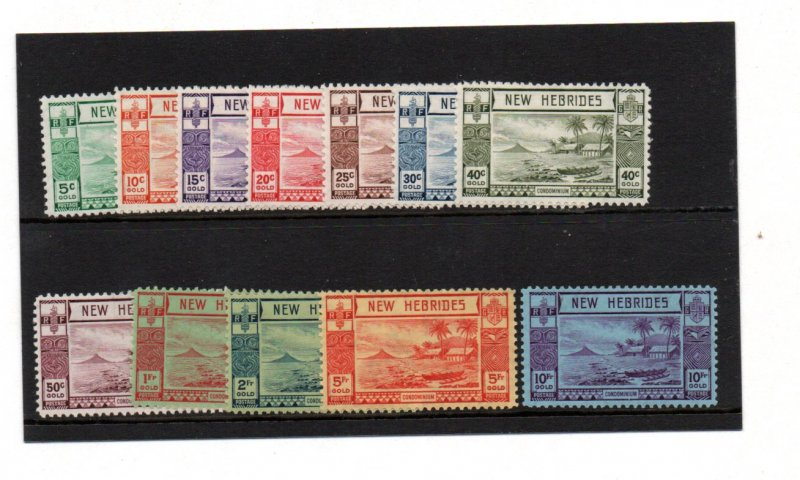 NEW HEBRIDES 1938 GOLD CURRENCY SET OF 12 MOUNTED MINT