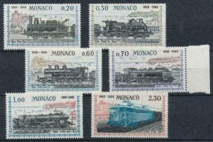 [M02] Monaco / 1968, Trains, MNH, Michel No: 896/901 (13€)