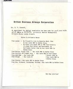 CE66 BOAC 1961 GB Medical Appointment Letter