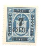 Denmark Sc 187 1926 7 ore ovpt on 4 o Official stamp mint