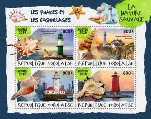 TOGO - 2018 - Lighthouses and Shells - Perf 4v Sheet #1 - M N H
