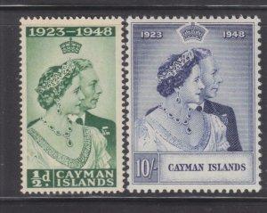 CAYMAN ISLANDS, 1948 Sliver Wedding pair, mnh.