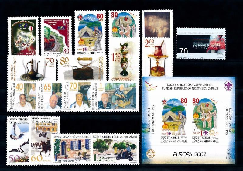 [51528] Turkish Cyprus 2007 Complete Year Set with Miniature sheet MNH