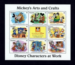 GUYANA - 1996 - DISNEY - MICKEY - DONALD + + ARTS & CRAFTS WORKERS - MINT SHEET!