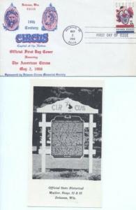 1309 5c CIRCUS - 1st Delavan Circus Memorial Society
