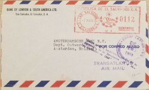 A) 1953, EL SALVADOR, METER STAMP, LETTER SHIPPED TO AMSTERDAM-HOLLAND, AIRMAIL,