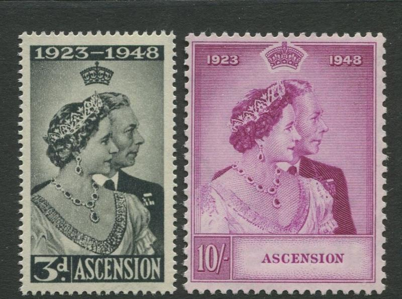 Ascension - Scott 52-53 -  Silver Wedding Issue-1948 - MNH - Set of 2 Stamps