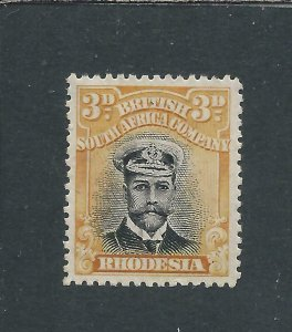 RHODESIA 1913-19 3d BLACK & YELLOW DIE 2 MM SG 222 CAT £85