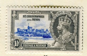 ST. KITTS; 1935 early GV Jubilee issue Mint hinged 1.5d. value