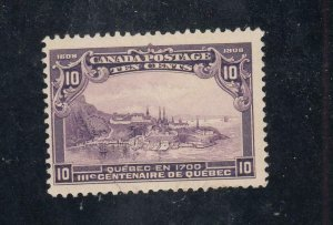CANADA # 101 FVF-MNH (Crease) 10cts QUEBEC ISSUE CAT VALUE $300