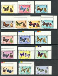 BELIZE 1974-77 Complete BUTTERFLIES Set of 16 Scott Nos. 345-360 MNH