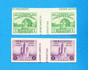 USA - Scott 766-767 - unused imperf gutter pairs  NGAI -  CENTURY OF PROGRESS