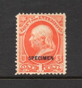 #o15s 1c Int.  OFFICIAL SPECIMEN opt  Nice (Unused) cv$55.00