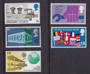 Great Britain   #584-588   MNH  1969   anniversaries NATO  Europa  ILO . flights