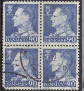 DENMARK SCOTT# 441 *USED*  90o BLOCK OF 4 1967-71  SEE SCAN
