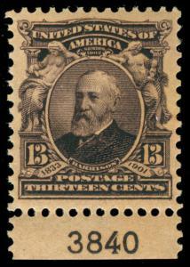 momen: US Stamps #308 PLATE SINGLE MINT OG NH XF