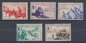 France, 1942 Borodini Legion semi-postals, set of 5 battle scenes, MNH.