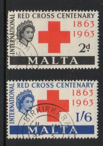 Malta Sc 292-3 1963 Red Cross stamp set used