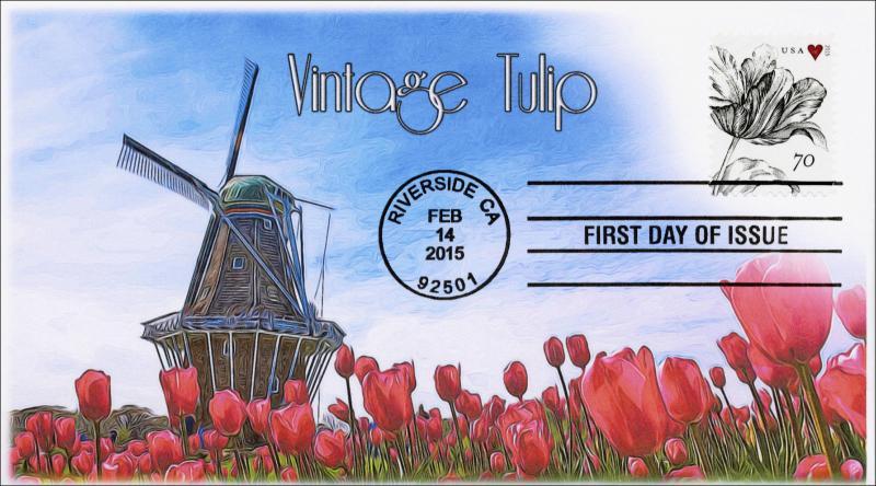 2015, Vintage Tulip, FDC, Black and White Postmark,  15-069