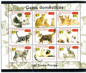 Sao Tome & Principe 2004 DOMESTIC CATS Sheet (9) Perforated Mint (NH)