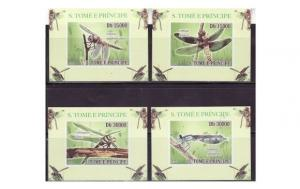 St Thomas - Insects - 4 Imperf Deluxe  Set 19A-129