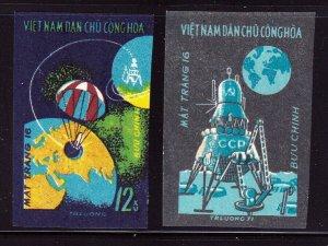 North Viet Nam - 1971 - Sc 639-640 - Flight of Luna 16 - Imperf - MNH