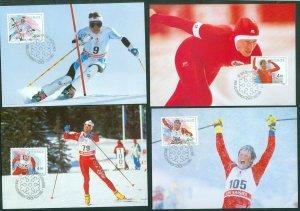 Norway. 1993 Maximum Card. Set (4) Nor. Olympic Gold Medalists. Scott# 1021 a.d.
