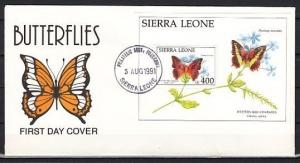 Sierra Leone, Scott cat. 1406. Butterfly s/sheet on a First day cover. ^