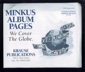 1998 United Nations Imprint Blocks Minkus Stamp Album Supplement Pages