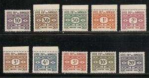 Somali Coast J39-48 1947 Postage Dues set MNH