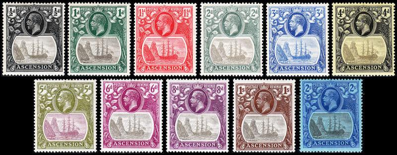 Ascension Scott 10, 11a-20 (1924-27) Mint H VF, CV $432.25 B