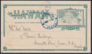 HAWAII #UX9 USED MAUI, HI TO LONDON, ENGLAND NOV 1, 1898 BT7367