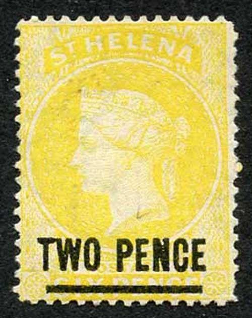 St Helena SG28 2d Yellow Wmk CC Perf 14 un-used (no gum) cat 150 pounds
