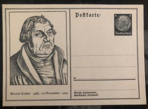 Mint Germany Postal Stationary Postcard Cover Martin Luther 1933